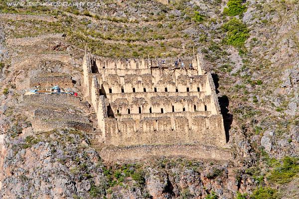 Ollantaytambo storehouses Peru