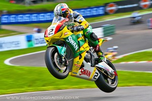 James Ellison jumps the mountain at Cadwell Park - British Superbikes